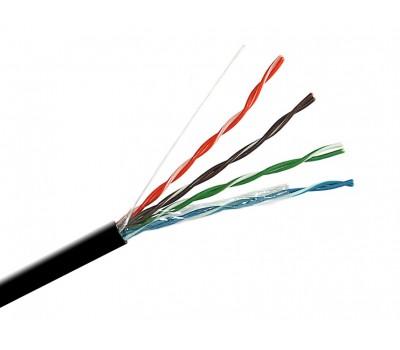 Кабель сетевой витая пара UTP 5Е медь черная уличная