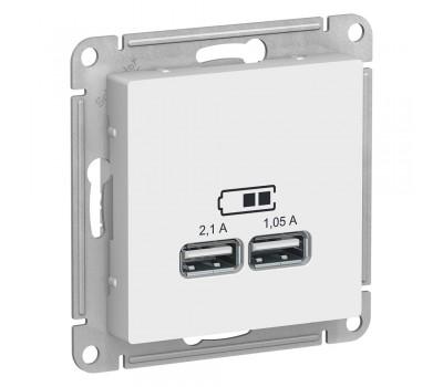 ATN000133 ATLASDESIGN USB РОЗЕТКА A+A, 5В/2,1 А, 2х5В/1,05 А, механизм, БЕЛЫЙ